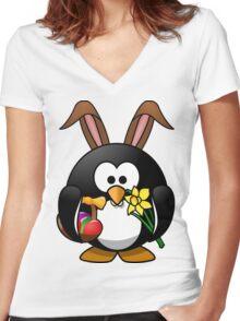 Easter Penguin Women's Fitted V-Neck T-Shirt