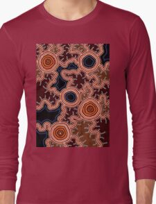 Authentic Aboriginal Art - Pathways to Water Long Sleeve T-Shirt