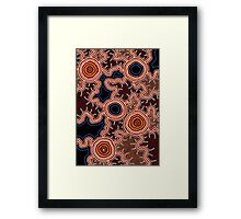 Authentic Aboriginal Art - Pathways to Water Framed Print
