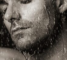 Sensual portrait of man face under pouring water Black and white art photo print by ArtNudePhotos