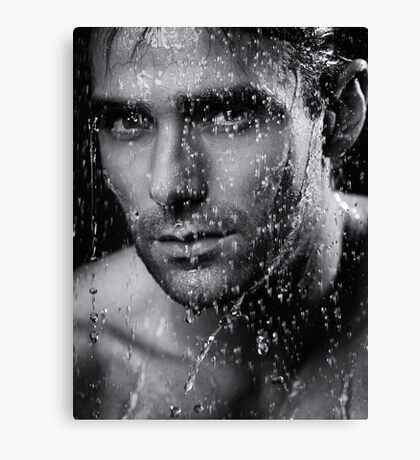 Man face wet from water running down it Black and white art photo print Canvas Print