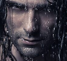 Dramatic portrait of man wet face with long hair art photo print by ArtNudePhotos