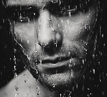 Dramatic portrait of man wet face Black and white art photo print by ArtNudePhotos