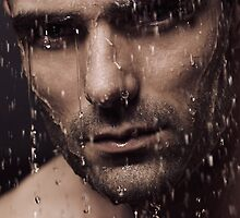 Dramatic portrait of man face with water pouring over it art photo print by ArtNudePhotos