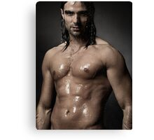 Portrait of man with wet bare torso standing under shower art photo print Canvas Print