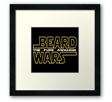 Beard Wars The Fuzz Awakens Men's Funny Beard Sci-fi T-Shirt. Framed Print