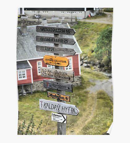 For a Challenge ( 2 ) - Signage Into Flåm Poster