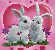 Romantic White Rabbits with Heart by martyee