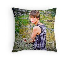 Barbwire Dandy Throw Pillow