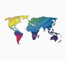 world map, rainbow colors One Piece - Short Sleeve