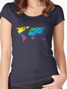 world map, rainbow colors Women's Fitted Scoop T-Shirt