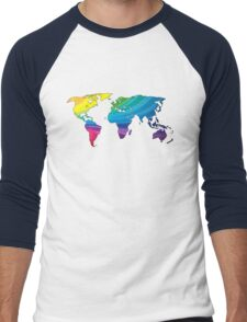 world map, rainbow colors Men's Baseball ¾ T-Shirt