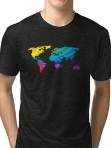 world map, rainbow colors Tri-blend T-Shirt