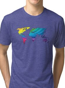 world map, rainbow colors Tri-blend T-Shirt