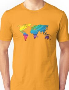 world map, rainbow colors Unisex T-Shirt