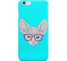 Geeky Nerdy Sphynx Cat with Taped Glasses iPhone Case/Skin