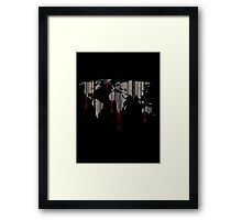 world map, barcode, blood dripping Framed Print
