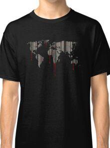 world map, barcode, blood dripping Classic T-Shirt
