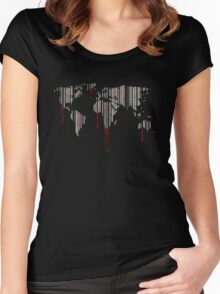 world map, barcode, blood dripping Women's Fitted Scoop T-Shirt