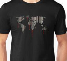 world map, barcode, blood dripping Unisex T-Shirt
