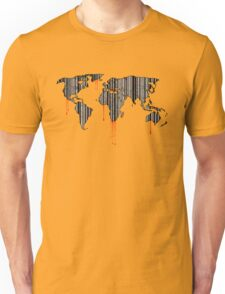 world map, barcode, blood dripping Unisex T-Shirt