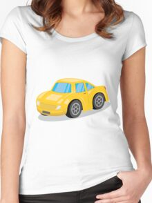 Yellow Sports Car Cartoon Women's Fitted Scoop T-Shirt