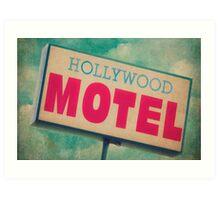 Hollywood Motel Sign Art Print