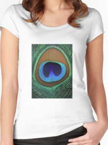 Beautiful peacock feather Women's Fitted Scoop T-Shirt