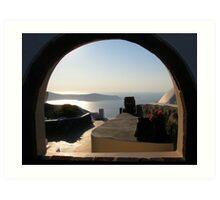 Window in Fira, Santorini Art Print
