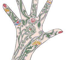 Art Nouveau Mehndi Hand by redqueenself