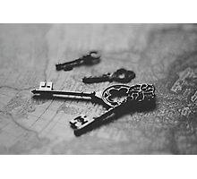 Key to Happiness - Black & White Photograph Photographic Print