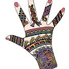 Colourful Mayan Mehndi hand by redqueenself