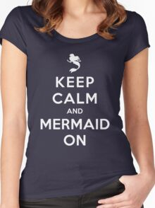 Keep Calm and Mermaid On (dark shirt) Women's Fitted Scoop T-Shirt