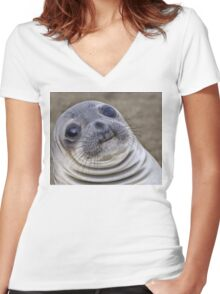 Fat seal sticker Women's Fitted V-Neck T-Shirt