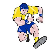 Rugby Player Running Charging Cartoon by patrimonio