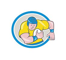 Rugby Player Running Charging Circle Cartoon by patrimonio