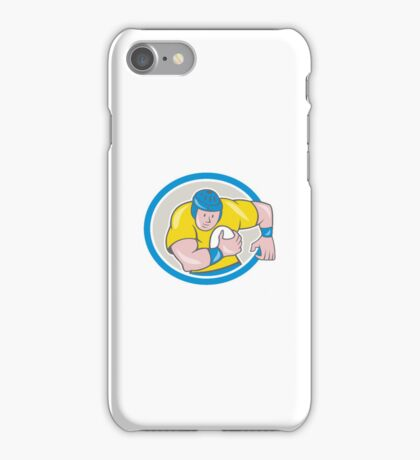 Rugby Player Running Charging Circle Cartoon iPhone Case/Skin