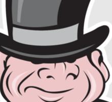 Man Wearing Top Hat Smiling Circle Cartoon Sticker