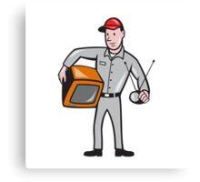 TV Repairman Technician Cartoon Canvas Print