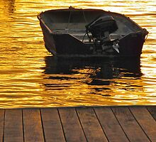 Dinghy at night by Michelle Ricketts