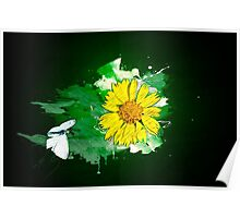 Digitally manipulated image of a white butterfly and yellow flower Poster
