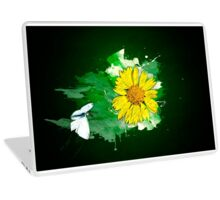 Digitally manipulated image of a white butterfly and yellow flower Laptop Skin