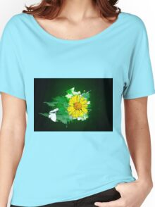 Digitally manipulated image of a white butterfly and yellow flower Women's Relaxed Fit T-Shirt