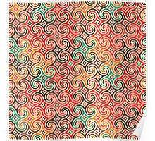 Retro pattern with swirls Poster