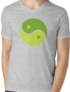 Green Yin Yang Mens V-Neck T-Shirt