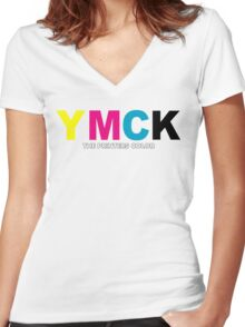 YMCK The Printers Color Women's Fitted V-Neck T-Shirt