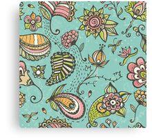 Retro doodle pattern Canvas Print