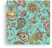 Retro doodle pattern Canvas Print