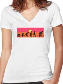 Pop Art Bike Evolution Women's Fitted V-Neck T-Shirt