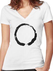Zen Buddhist Enso Symbol Women's Fitted V-Neck T-Shirt